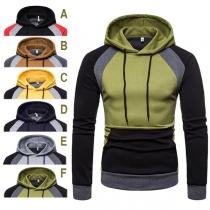 Moderne Hoodie voor Heren met Contrasterende Kleuren en Lange Mouwen