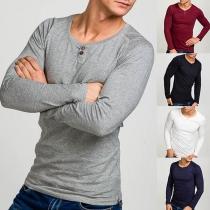Modern Sweatshirt voor Heren met Effen Kleur Lange Mouwen en Ronde Hals