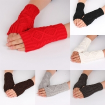 Moderne Vingerloze Gebreide Lange Handschoenen met Effen Kleur