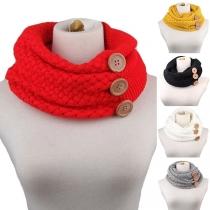 Moderne Gebreide Infinity Sjaal met Effen Kleur