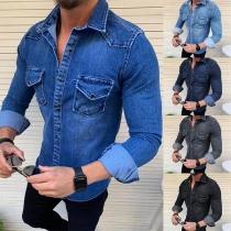Modern Hemd voor Heren met Polokraag Lange Mouwen en Slanke Pasvorm