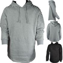 Moderne Hoodie voor Heren met Effen Kleur Lange Mouwen