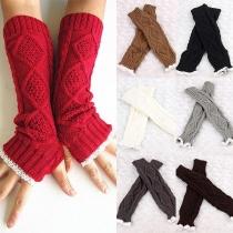 Moderne Vingerloze Gebreide Lange Handschoenen met Kant