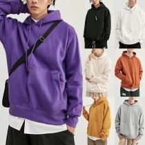 Moderne Hoodie voor Heren met Effen Kleur Lange Mouwen en Losse Pasvorm