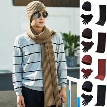 Modern Driedelig Set met Effen Kleur bestaand uit een Gebreide Muts + Handschoenen + Sjaal