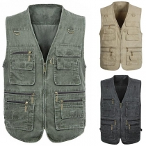 Moderne Mouwloze Vest voor Heren met V-hals en Meerdere Zakken