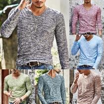 Modern Sweatshirt voor Heren met Lange Mouwen en V-hals