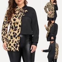 Modern Plus Size Hemd met Luipaardpatroon en Lange Mouwen