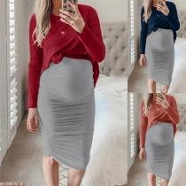 Modern Tweedelig Set voor Zwangere Vrouwen bestaand uit een Sweatshirt met Lange Mouwen + Rok