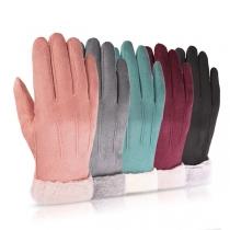 Moderne Touch Sensitive Handschoenen met Effen Kleur en Kunstbont