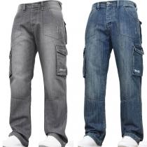 Moderne Jeans voor Heren met Middelhoge Taille en Zijzakken