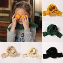 Moderne Gebreide Sjaal voor Kinderen met Effen Kleur
