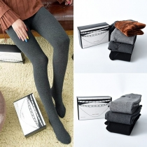 Moderne Legging met Pluchen Voering Effen Kleur en Hoge Taille