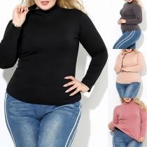 Modern Plus Size Thermisch Ondergoed Sweatshirt met Effen Kleur en Opstaande Kraag