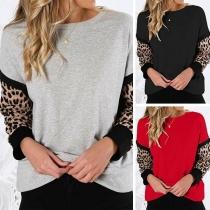Modern Shirt met Ronde Hals en Luipaardpatroon op de Lange Mouwen