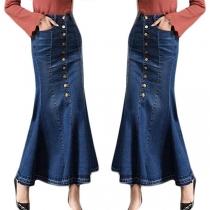 Moderne Spijkerrok met Hoge Taille en Fishtail Zoom