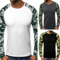 Modern Sweatshirt voor Heren met Camouflagepatroon Lange Mouwen en Ronde Hals