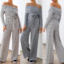 Sexy Gestreepte Jumpsuit met Vrije Schouders Lange Mouwen en Hoge Taille(Het valt groot)