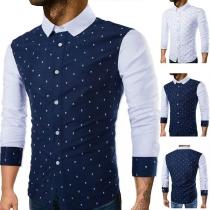 Modern Hemd voor Heren met Lange Mouwen Polokraag en Chic Patroon