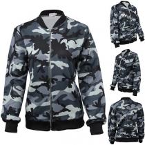 Moderne jas met Camouflagepatroon Lange Mouwen en Opstaande Kraag