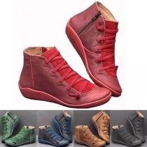 Modern Boots met Platte Hakken en Ronde Neuzen
