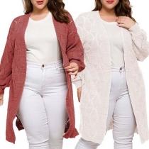 Modern Uitgesneden Lange Plus Size Gebreid Vest met Effen Kleur en Lange Mouwen