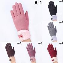 Modern Touchsensitieve Handschoenen met Kanten Ontwerp en Pluchen Voering