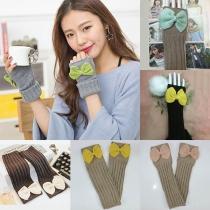 Modern Vingerloze Gebreide Lange Handschoenen met Contrasterende Kleuren en Strikje