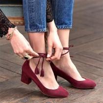 Modern Schoenen met Dikke Hak Ronde Neuzen en Veters