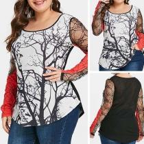 Sexy Plus Size Sweatshirt met Lange Mouwen met Kanten Ontwerp en Ronde Hals