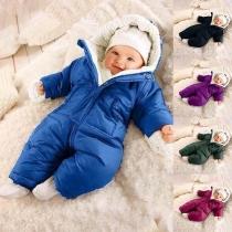 Moderne Jumpsuit voor Baby's met Effen Kleur Lange Mouwen Pluchen Voering en Capuchon