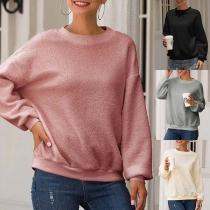 Modern Pluchen Sweatshirt met Effen Kleur Lange Mouwen en Ronde Hals