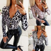 Sexy Deep V-neck Long Sleeve Leopard/Serpentine Printed Bodysuit