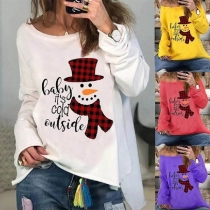 Cute Snowman Printed Long Sleeve Round Neck Loose T-shirt