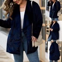 Moderne Plus Size Vest met Effen Kleur Lange Mouwen en Revers