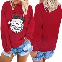 Leuke Sweater met Kerstmanmotief Lange Mouwen en Ronde Hals