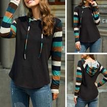 Fashion Striped Spliced Long Sleeve Hooded Sweatshirt