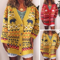 Fashion Long Sleeve V-neck Printed Knit Cardigan
