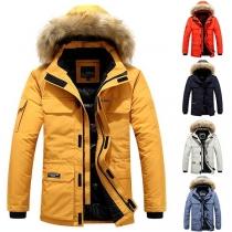 Moderne Gevoerde jas voor Heren Capuchon metKunstbont