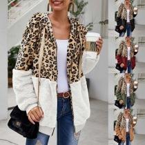 Moderne Hoodie met Luipaardpatroon gemixt Lange Mouwen en Capuchon