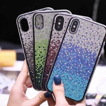 Modern Telefoonhoesje voor iPhone en HUAWEI met Ingelegd Strass en Kleurverloop