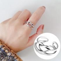 Gevlochten Hartvormige Ring van Aluminium in Retrostijl