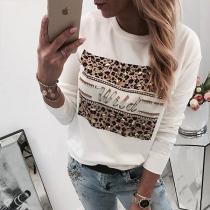 Moderne Sweater met Accenten van Strass met Luipaardpatroon en Ronde Hals