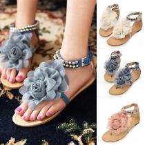 Sandalen in Boheemse met Platte Hakken Bloemen en Bandjes