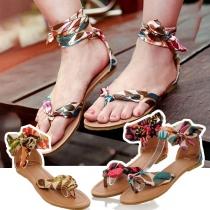 Sandalen in Boheemse Stijl met Platte Hakken en Bedrukte Bandjes