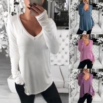 Eenvoudig Sweatshirt met Lange Mouwen en V-hals
