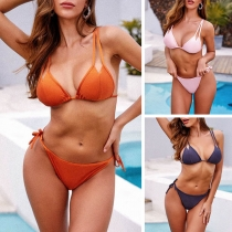 Sexy Bikiniset met Vrije Rug Lage Taille en Effen Kleur