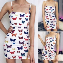 Sexy Backless Slim Fit Butterfly Printed Sling Dress