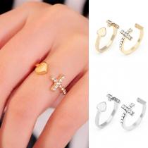 Moderne Ring met Ingelegd Strass Kruis en Hart