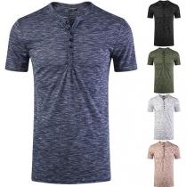 Modern T-shirt voor Heren met V-hals en Korte Mouwen